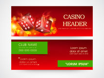 Web header or banner for casino. Website casinos header or banner set with dice in flame Stock Photography