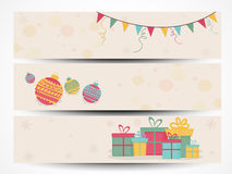 Web header or banner for Christmas and New Year celebration. Stock Photos