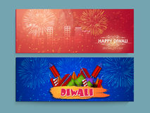 Web header or banner for Diwali celebration. Glossy creative website header or banner set with colourful firecrackers for Indian Festival of Lights, Happy Royalty Free Stock Photo