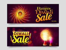 Web Header or Banner for Diwali Sale. Elegant Bumper Diwali Sale, Website Header or Banner Set, Big Discount Upto 70%, Exploding Crackers for Indian Festival of royalty free illustration