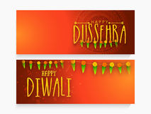 Web header or banner for Dussehra and Diwali. Royalty Free Stock Images