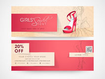 Web header or banner of girls sandal store. Royalty Free Stock Photo