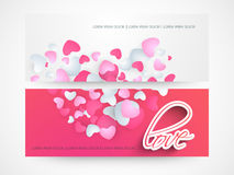 Web header or banner of love. Website header or banner set of love with hearts Stock Photo