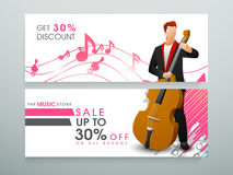 Web header or banner for music store. Stock Images