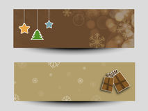 Web header or banner set for Christmas and New Year 2015 celebra. Happy New Year 2015 and Merry Christmas celebration website header or banner set Royalty Free Stock Photo