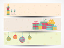 Web header or banner set for Christmas and New Year 2015 celebra. Happy New Year 2015 and Merry Christmas celebration website header or banner set with gifts Royalty Free Stock Photo