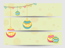 Web header or banner set for Christmas and New Year 2015 celebra. Merry Christmas and Happy New Year 2015 celebration website header or banner set Royalty Free Stock Image