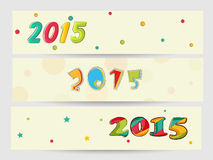 Web header or banner set for Christmas and New Year celebration. New Year 2015 and Merry Christmas celebration website header or banner set with colorful text Royalty Free Stock Photo