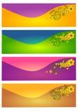 Web header banner set. Of four. Floral swirl design concept background design Royalty Free Stock Image