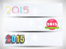 Web header or banner set for Happy New Year 2015 celebration. Happy New Year 2015 celebration banner or website header design with beautiful text Royalty Free Stock Photo