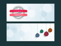 Web header or banner set for Merry Christmas celebration. Merry Christmas celebration banner or website header design with Xmas Balls Royalty Free Stock Image