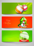 Web header or banner set for Merry Christmas celebration. Merry Christmas celebration website header or banner set with ornaments Royalty Free Stock Images