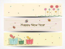 Web header or banner set for New Year 2015 celebration. Royalty Free Stock Image