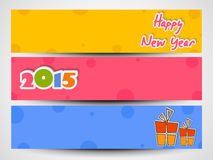 Web header or banner set of New Year 2015. Happy New Year 2015 celebration website header or banner set with gift boxes and colorful text Stock Images