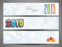 Web header or banner set of New Year 2015. Website header or banner set with hanging Xmas Balls for Happy New Year 2015 celebration Stock Photography