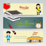 Web header or banner set of school time. Royalty Free Stock Photo