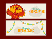 Web header or banner for Thanksgiving Day. Creative website header or banner set with cute Turkey Bird for Happy Thanksgiving Day celebration Stock Images