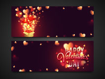Web header or banner for Valentine`s Day. Website header or banner set with glowing hearts decoration for Happy Valentine`s Day celebration Royalty Free Stock Photos