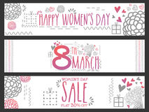 Web header or banner for Women's Day celebration. Stock Photo
