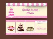 Web header design for cake shop. Royalty Free Stock Photo