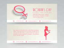 Web header design for woman's day celebration. Stock Images