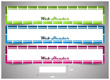 Web header with precise dimension, set of  banners. Design for your website header or banner Royalty Free Stock Photography