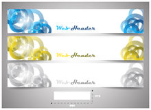 Web headers with precise dimension, set of  banners. Design for website header or banner with place for your content Royalty Free Stock Image