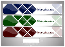 Web headers with precise dimension, set of  banners. Design for website header or banner with place for your content Stock Image