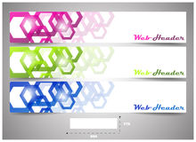 Web headers with precise dimension, set of  banners. Design for website header or banner with place for your content Royalty Free Stock Photography