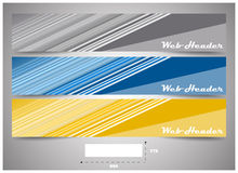 Web headers with precise dimension, set of  banners. Design for website header or banner with place for your content Royalty Free Stock Photos