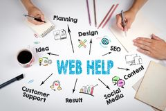 Web Help, website development Concept. The meeting at the white office table Stock Photo