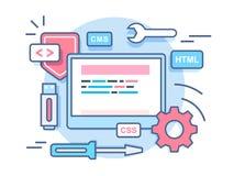 Web het concept van de programmeringsontwikkeling Stock Foto's