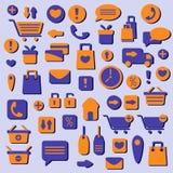 Web het winkelen geplaatste pictogrammen Stock Afbeeldingen