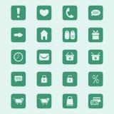 Web het winkelen geplaatste pictogrammen Stock Afbeelding