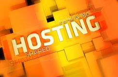 Web Hosting. Dedicated and Shared Web Hosting 3D Render Illustration. Orange-Yellow Colors Royalty Free Stock Image