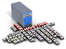 Web hosting. Related words next to a web server on white background Stock Image