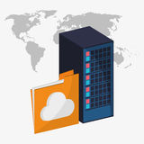 Web hosting and big data design. Web hosting file and cloud computing icon. Big data center base and information theme. Colorful design. Vector illustration Royalty Free Stock Image