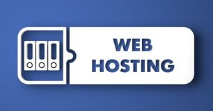 Web Hosting on Blue in Flat Design Style. Royalty Free Stock Photo