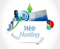 Web hosting business graphs sign concept. Illustration graphic design Stock Photos