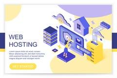 Web hosting, cloud storage computing, big data, internet and blockchain server concept 3d isometric infographics vector stock illustration