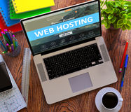 Web Hosting Concept on Modern Laptop Screen Stock Image