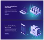 Web hosting, data backup copy, recover file concept, cloud data storage, digital technology, blockchain, server room. Smartphone laptop isometric vector vector illustration