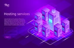 Web hosting and data center isometric vector illustration. Concept of big data processing, server room rack,. Ultraviolet colors royalty free illustration