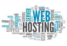 Web hosting de la nube de la palabra Imagen de archivo libre de regalías