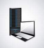 Web Hosting and laptop icon. Technology design. Vector graphic Stock Photos