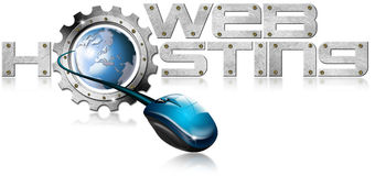 Web Hosting Metal Gear. Illustration with metal written Web Hosting, metal gear, mouse and blue globe Stock Photos