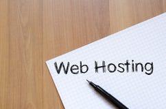 Web hosting pisze na notatniku Obraz Stock