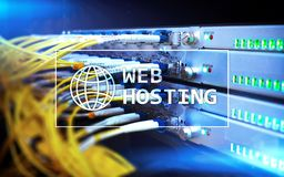 Web Hosting, providing storage space and access for websites.  Stock Photo
