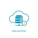 Web hosting server icon with internet cloud storage computing ne Stock Images