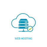 Web hosting server icon with internet cloud storage computing ne Royalty Free Stock Photo